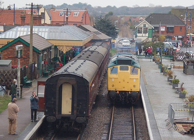 25057 running round it's train at Sheringham.