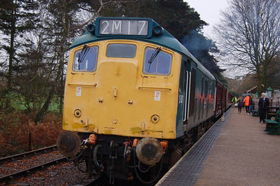 A close view of 25057 at Holt, awaiting departure time with the 1430 service to Sheringham.