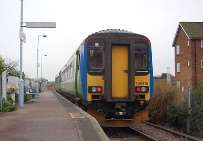 In contrast with Sheringham station on the North Norfolk Railway, the national rail station is rather basic. 156418 is seen departing with the 1246 to Norwich.