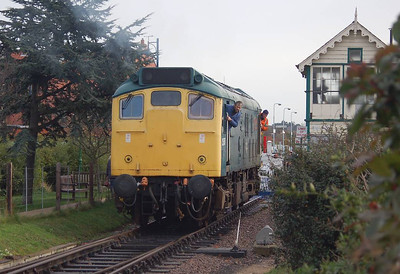 25057 in the headshunt at Sheringham.