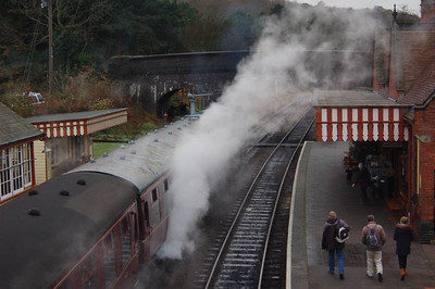 25057 is obscured by steam at Weybourne whilst awaiting departure time