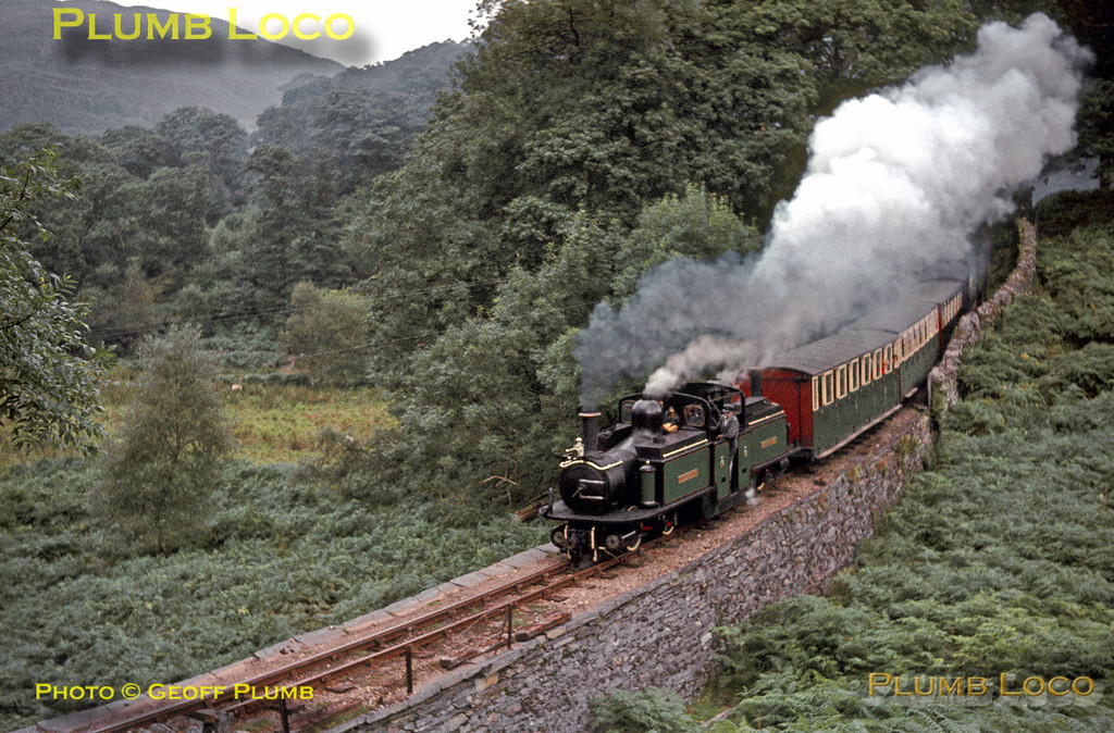 """Ffestiniog Railway. 1964/08/14. Double-Fairlie No. 10 """"Merddin Emrys"""" climbing through the woods at Whistling Curve on the approach to Tan-y-Bwlch with the 11:45 train from Porthmadog on Friday 14th August 1964. Driver Evan Davies is in charge in characteristic pose complete with cigarette dangling from his lips! Slide No. 964."""