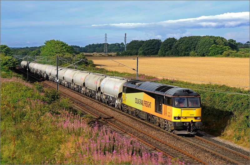 2018 08 08.60002 on the 21.18 West Thurrock-Oxwellmains cement working on the ECML at Warkworth with 60 haulage but for how long.