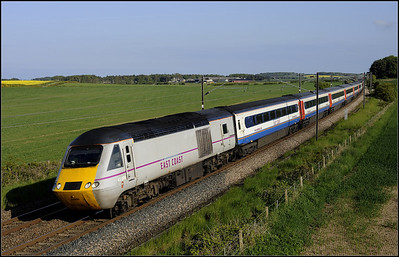 2013 06 09 43206 15.00 King Cross-Edinburgh EMT set storms past Whinny Hill.
