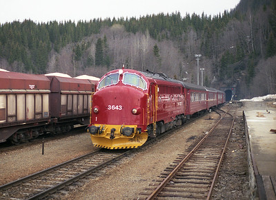 3.643 arrives at Grong with the 08.40 Mo i Rana-Trondheim 19/4/96/