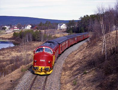 Seen departing Tynset on the Røros line is 3.643 with train 302 the 13.20 Trondheim-Oslo, 30/5/97.