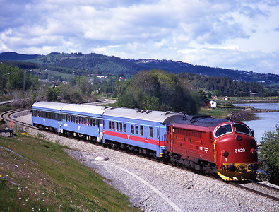3.629 hauls train 421 at Mitsanden, near Hommelvik 31/5/99.  This is the 11.07 portion from Trondheim which will attach to the 13.15 Storlien-Stockholm.