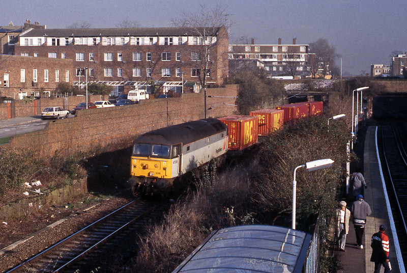 22nd January; Caledonian Road & Barnsbury. 47308 on the bi-directional freight line on the 4M54 Tilbury to Crewe.