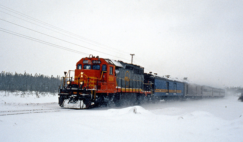 It started snowing again as the weekly through train from Lab City to Sept Iles left town. We were due to follow in a few days on the connection to Ross Bay, but as things turned out it wasn't that simple.