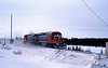 February 24th Labrador City, Nfld on the Quebec North Shore and Labrador Railroad. At the 8km crossing a pair of light engines head east towards Ross Bay Junction, led by 301 an EMD SD40-2
