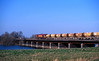 66091 crossing the Ouse Washes on the Kennett to Toton stonehoppers.