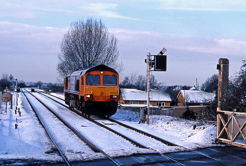 On January 30th it snowed quite extensively. I think it was on that occasions that some motorists were trapped on the M11 overnight and a furore developed over gritting policies. The following morning found me at Whittlesey, not via the M11 I hasten to add, where I saw what I think was my first GBRf locomotive, 66705