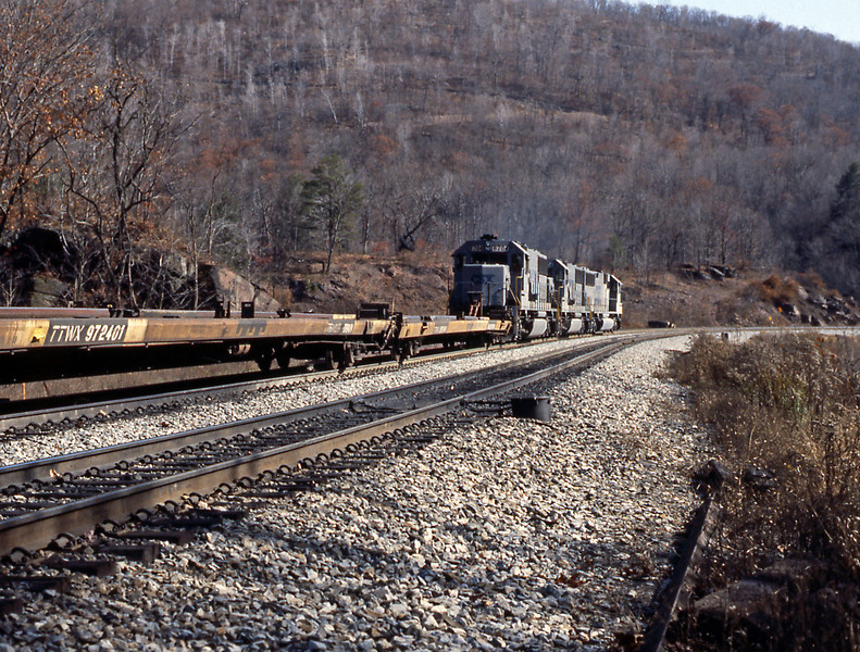 On the back were a trio of SD60 helpers in CSX 'stealth' grey. These were based in Cumberland and were kept quite busy shoving trains up the grade.