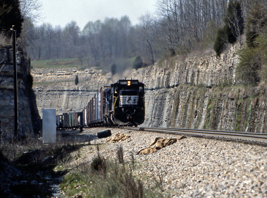 Final pictures from the CNO&TP at Kings Mountain. A southbound approaches the passing siding through this very impressive cut. Lead unit 8613 is a C39-8