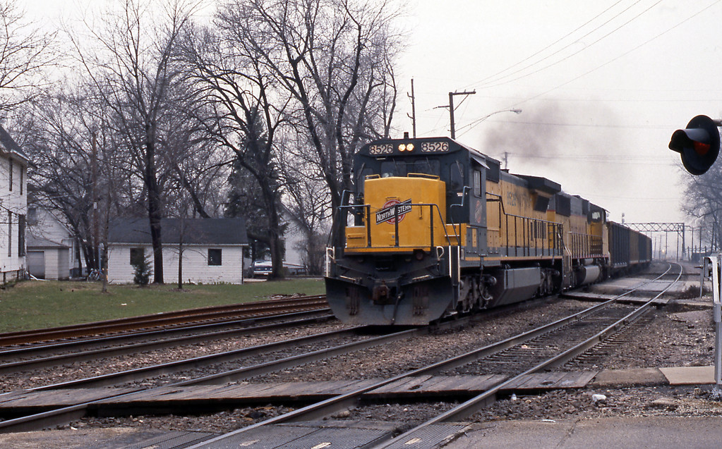 Day 10 found Mel and I at West Chicago. 8526 at the head of this coal train is a GE C40-8, very typical of the power CNW acquired for the Powder River Basin coal traffic.