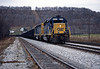 A loaded coal train heading east behind a pair of SD40-2s