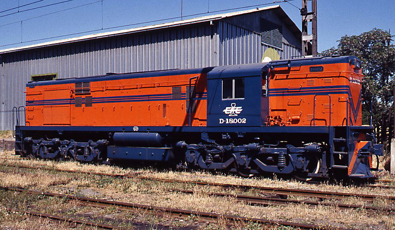 A broadside view of D-18002, complete with EFE 'streamlined' herald. This is an export model locomotive. Since freight was privatised the new operators - FEPASA and TRANSAP - have acquired secondhand US locomotives which tower above the D-18002.