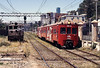I took the previous picture standing on the derelict Baldwin-Westinghouse loco on the left. AES-11 on a Limache to Puerto service approaching Vina del Mar. Today folowing a multi million $ project the line through Vina del Mar has been buried in a new tunnel.