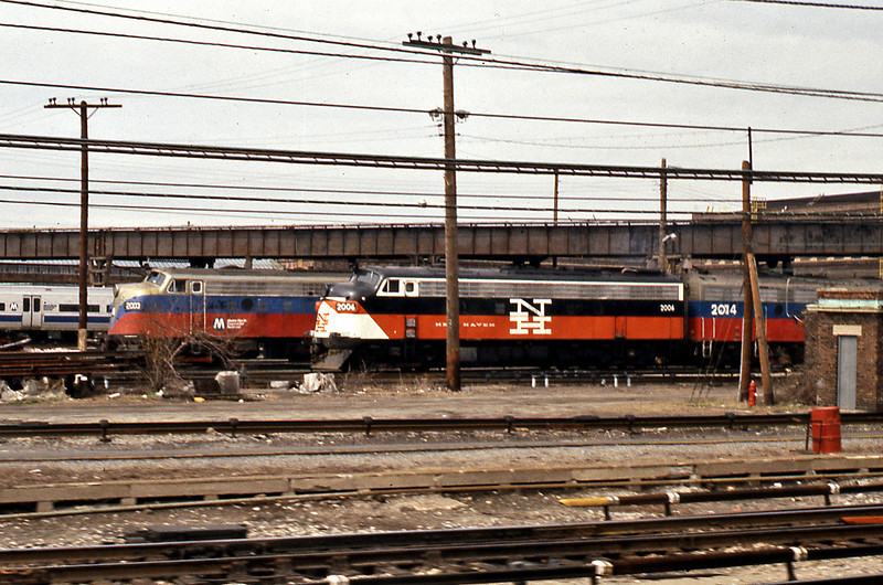 9th April 1987. On board the Adirondack at Croton we pass one of the ex-New Haven FL9s reliveried by CoDT in the 1950s Patrick B. McGinnis block livery.