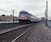 Back at Elmhurst a CNW West Line train to Geneva pulling away from Elmhurst, EMD F40s ruled the Metra roost in 1987.