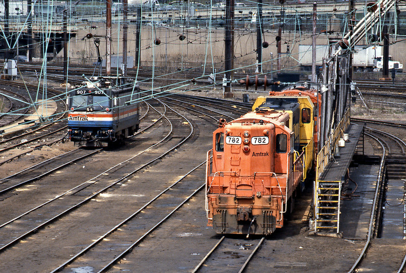 From Philadelphia I was planning to catch the Broadway Limited to Chicago. Whilst waiting I shot this picture of the loco ready tracks, an Amtrak AEM7 (An EMD version of Sweden's Rc4) awaiting its next assignment, alongside some work train power - two GP7s and an ex Santa Fe CF7. 782 started its life as NC&StL 705 in 1950.