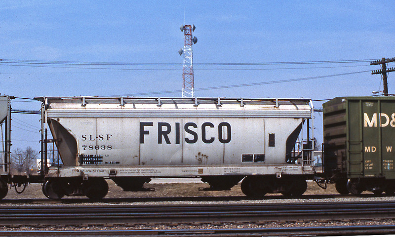 Not so common today but back in the 80s there were still plenty of wagons displaying the name and reporting marks of fallen flags, like this Frisco hopper.