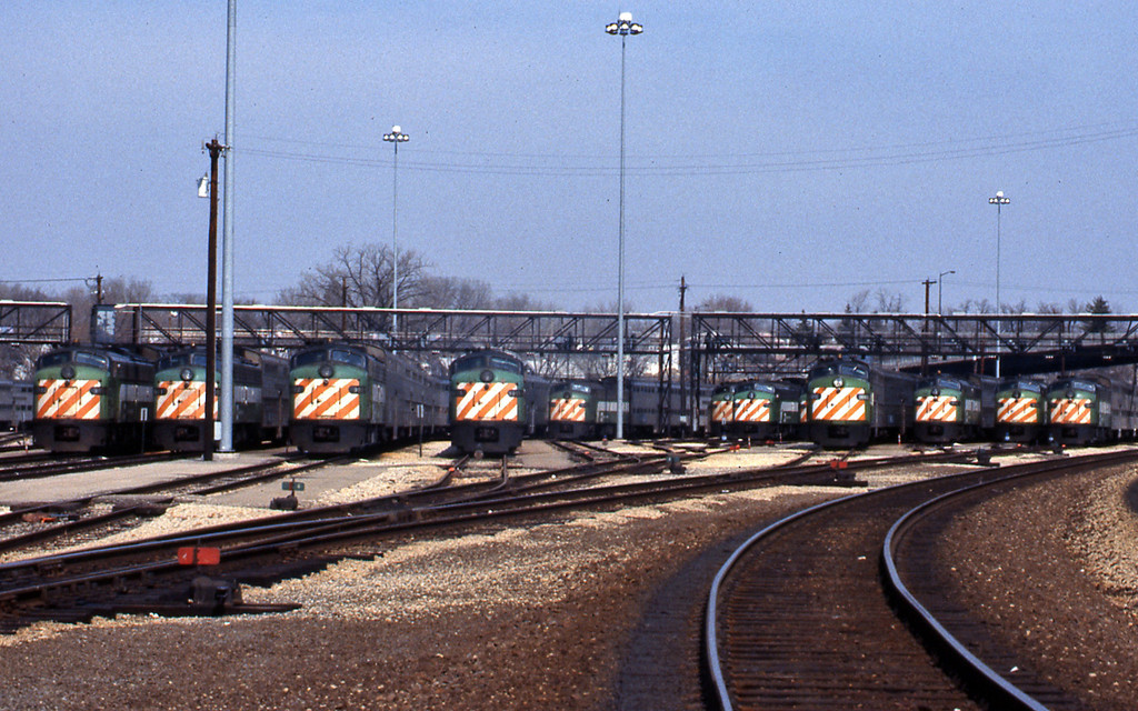 The commuter train yard at Aurora. It being Easter Sunday most sets were in the yard.