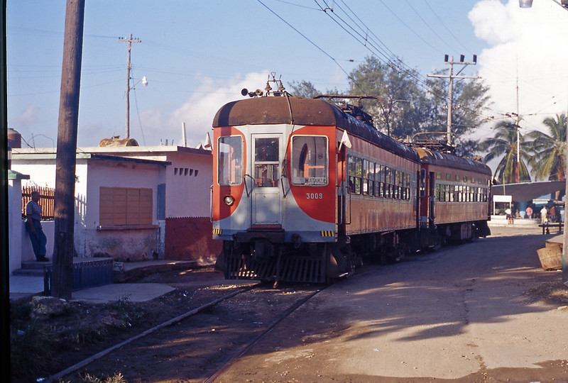 A pair of original Brill built interurban cars, retained for tourist train operation, at Casablanca.