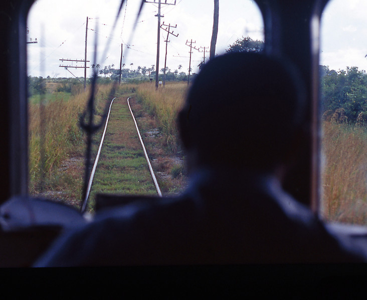 The view through the cab window, the interurban right of way is pretty ramshackle. At one point we came across a track gang replacing a rail and had to wait 10 minutes whilst they finished the job.