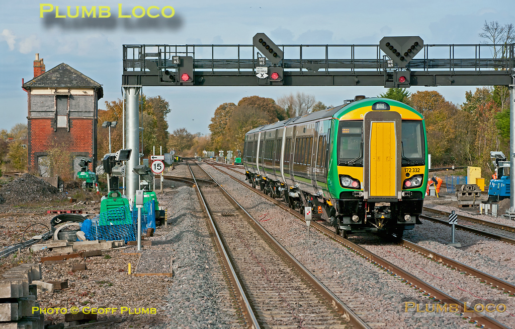 Having been held on the centre road at Princes Risborough for a while to allow a northbound Chiltern service to pass, London Midland 172 332 departs northwards on its return run, 5Z02, from High Wycombe to Banbury and Dorridge, part of its mileage accumulation runs. 13:26, Wednesday 2nd November 2011. Digital Image No. GMPI10529.