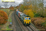 Freightliner 66503 heads south at Silchester with 4O27, the 05:26 from Garston to Southampton at 11:31 on Saturday 17th November 2012. Digital Image No. GMPI12906.