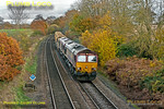 66135 and 66006 are double-heading 6O26, the 10:50 departmental train from Hinksey Yard to Eastleigh Yard, at Silchester at 12:01 on Saturday 17th November 2012. Digital Image No. GMPI12907.