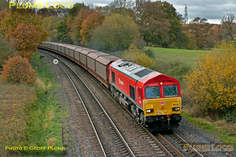 DBS liveried 66118 at Silchester with 6M48, the 09:28 empty car carriers from Southampton Eastern Docks to Halewood, 11:05, Saturday 17th November 2012. Digital Image No. GMPI12905.