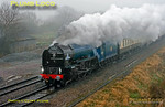 "LNER A1 Class 4-6-2 No. 60163 ""Tornado"" on its first outing in early BR Blue livery (though hard to tell in the appalling conditions!) as it works 1Z27, ""The Cathedrals Express"" 08:00 from Paddington to Shrewsbury past Shrivenham at 10:06 on a filthy wet and foggy Saturday 24th November 2012. Digital Image No. GMPI12944."