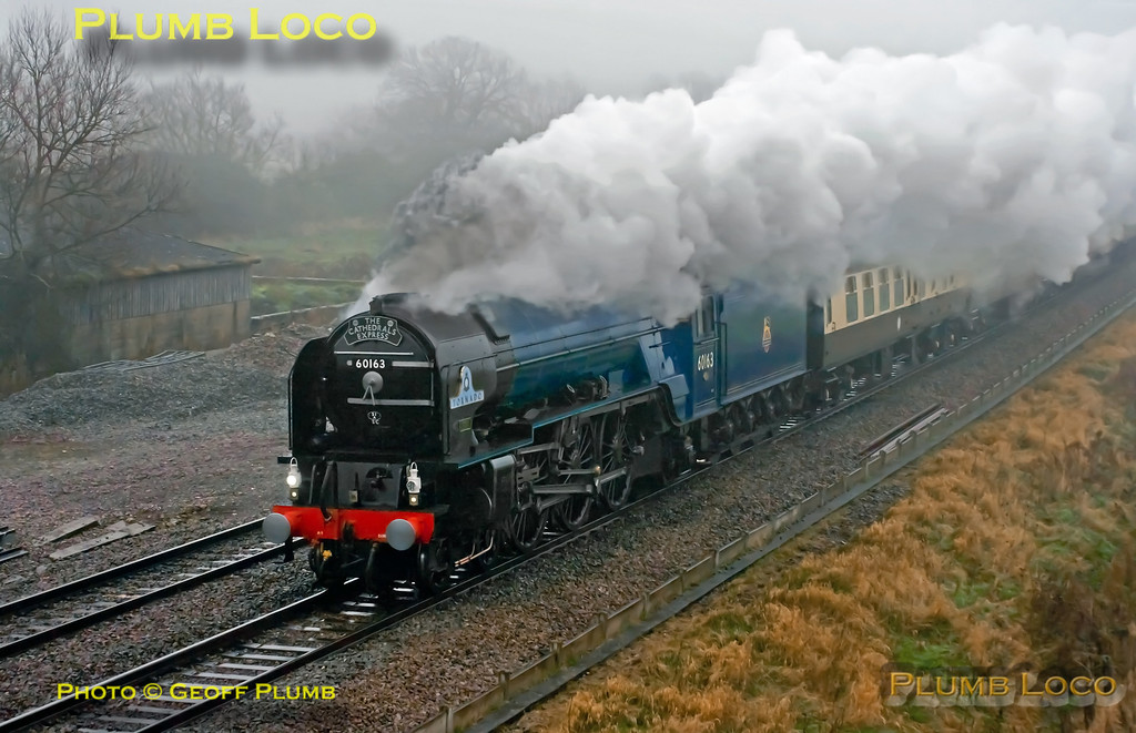 """LNER A1 Class 4-6-2 No. 60163 """"Tornado"""" on its first outing in early BR Blue livery (though hard to tell in the appalling conditions!) as it works 1Z27, """"The Cathedrals Express"""" 08:00 from Paddington to Shrewsbury past Shrivenham at 10:06 on a filthy wet and foggy Saturday 24th November 2012. Digital Image No. GMPI12944."""