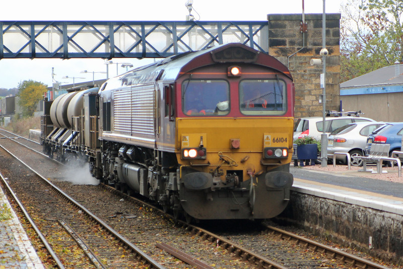 66104 with the RHTT on the Sunday daylight run passes through Dyce on 3rd November 2013
