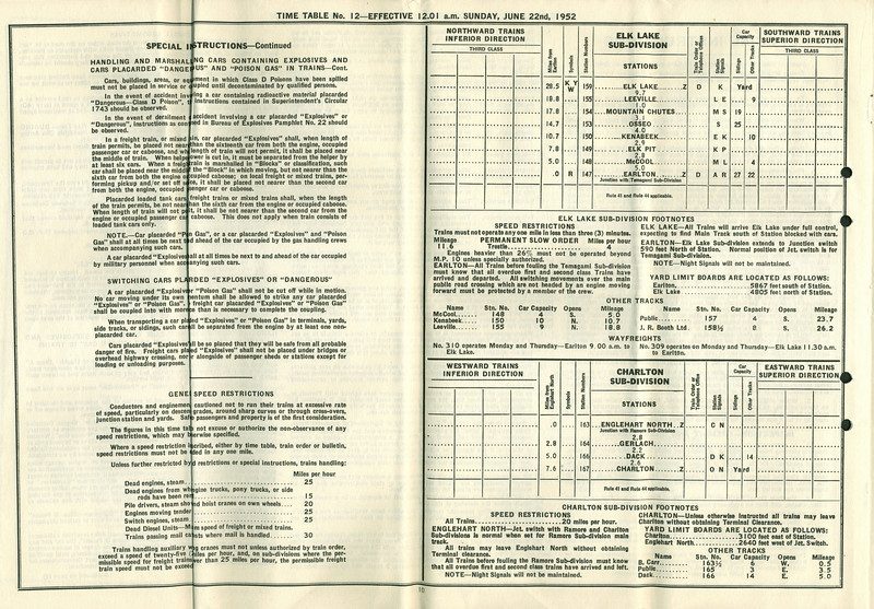 ontario northland railway employee time table 1952 june 22 north bay division