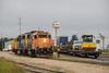 Gp38-2 1804 and GP40-2 2202 shifting boxcars in Moosonee.