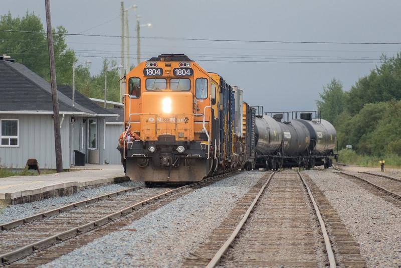 Freight 419 pulling past Moosonee station.