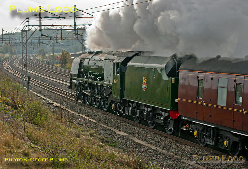 """Looking very much at home on the WCML, Stanier """"Princess Coronation"""" 4-6-2 No. 46233 """"Duchess of Sutherland"""" bowls merrily along the up slow line at Old Linslade with 1Z86, Sheffield to Euston train which it hauled from Nuneaton. 11:41, Saturday 20th October 2012. Digital Image No. GMPI12665."""