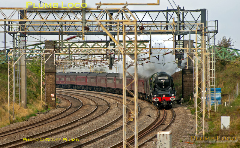 """Looking very much at home on the WCML, Stanier """"Princess Coronation"""" 4-6-2 No. 46233 """"Duchess of Sutherland"""" bowls merrily along the up slow line at Old Linslade with 1Z86, Sheffield to Euston train which it hauled from Nuneaton. 11:41, Saturday 20th October 2012. Digital Image No. GMPI12659."""