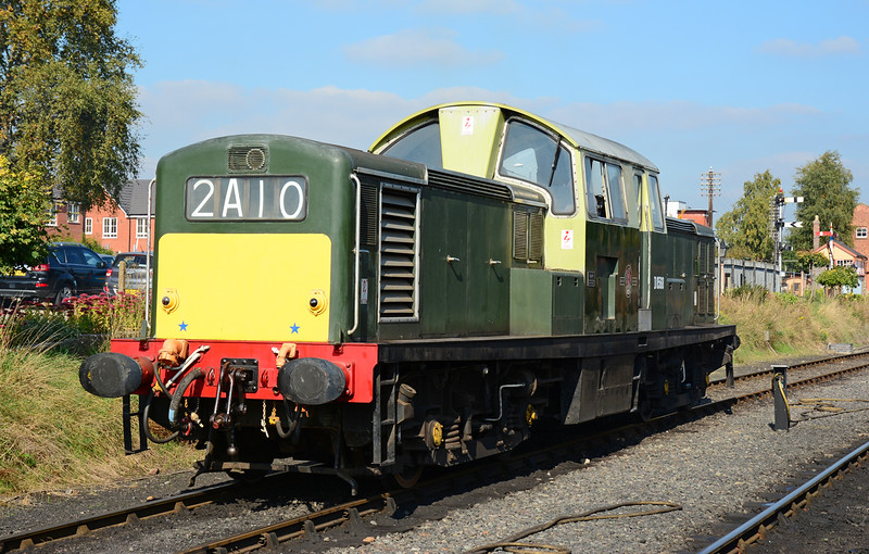 I had never seen this locomotive move. So the chance to photograph & travel behind it was duly taken. Class 17 D8568 is seen at Kidderminster 02/010/2015.<br /> The only survivor from a build of 117, plagued by Camshaft & Cylinder head failures, the class 17 lasted less than 10 years in BR service. This example making it into industrial use & then preservation.