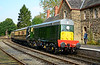 Class 20 D8059 is seen arriving at Highley, the token exchange about to take place 02/10/2015.<br /> The trip back to Kidderminster behind this was superb.