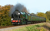 """SR 850 """"Lord Nelson""""  is seen between Medstead and Ropley during the Mid Hants steam gala 25/10/2015."""
