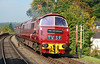 """D1062 """"Western Courier"""" is seen arriving at Bewdley, with a member of train crew about to hand over the single line token to the waiting signalman. A wonderful sight & sound 02/10/2015."""