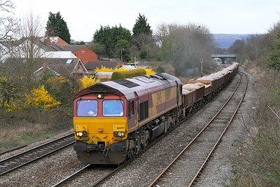 Running some five and half hours late due to a faulty wagon 66097 passes Hatherley Loop with 6Z06 04.57 Bescot Yard to Newport ADJ Yard loaded ballast.