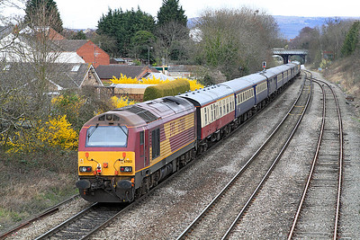 67003 brings up the rear of 5Z63 returning back through Cheltenham.