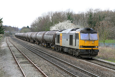 60015 has charge of 4E61 11.41 Westerleigh to Lindsey empty tanks passing Hatherley Loop.