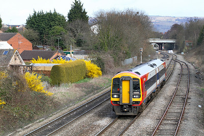 SWT 158889 on hire to FGW departs Cheltenham forming the 13.48 to Swindon.