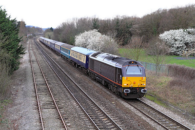With 67005 now leading 5Z63 returns from Gloucester Yard heading for Worcester.